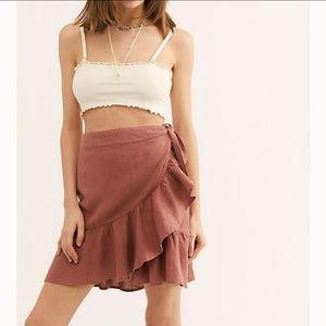 Free People Ruffle My Feathers Mini Wrap Skirt